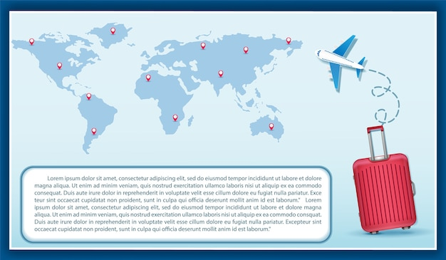 Bagages plan de l'avion en point voyage concept carte du monde Vecteur Premium