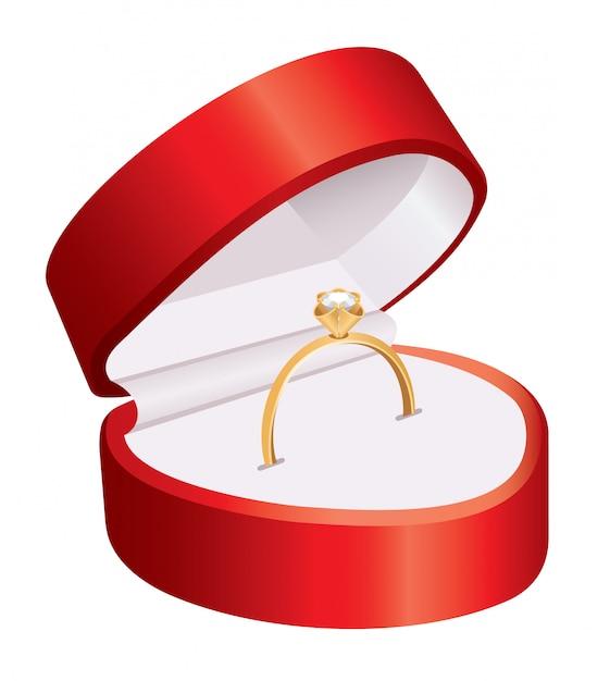 Bague Dans Une Boîte Rouge Vecteur Premium