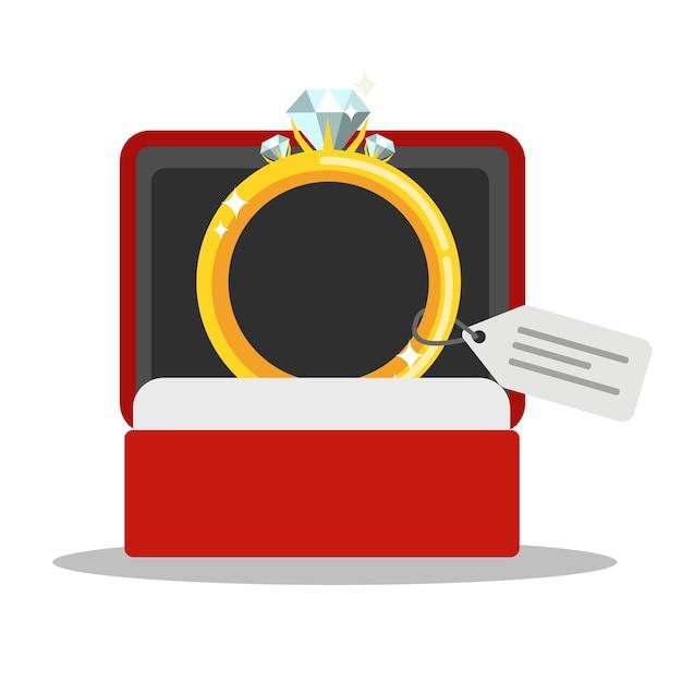 Bague De Mariage En Or Avec Diamant Dans Une Boîte Rouge. Bijoux Coûteux. Illustration Vecteur Premium