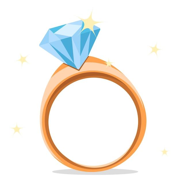 Bague En Or Avec Diamant Sur Fond Blanc. Vecteur Premium