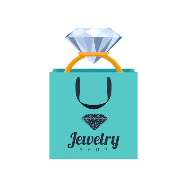 Bague En Or Avec Diamant En Illustration De Sac Cadeau Turquoise. Modèle D'icône De Bijouterie. Vecteur Premium