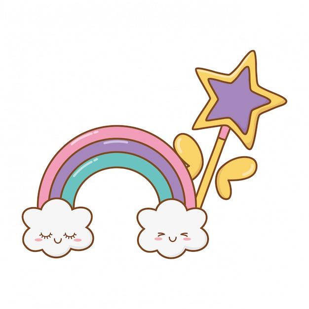 Baguette magique avec nuage et arc en ciel Vecteur Premium