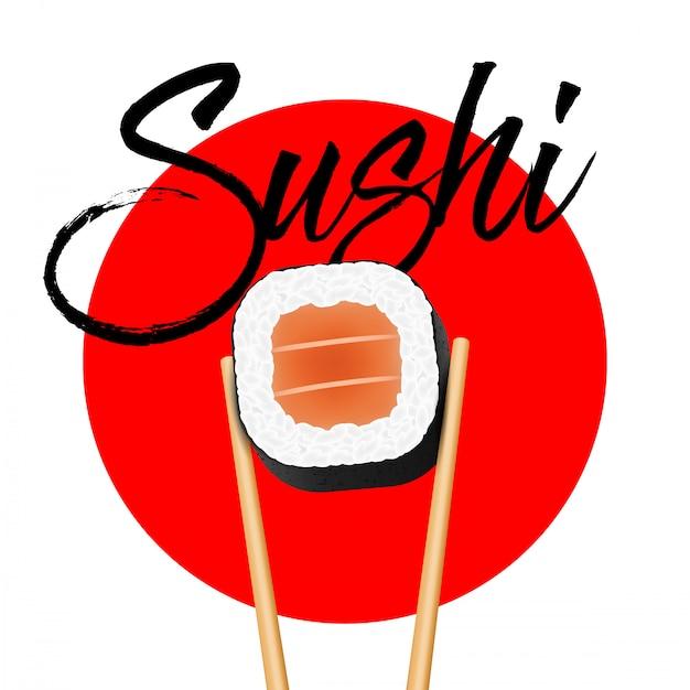 Baguettes tenant des morceaux de saumon sushi. Vecteur Premium