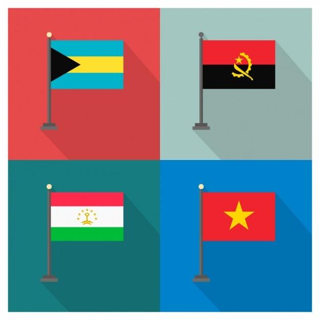 Bahamas angola tadjikistan vietnam et drapeaux Vecteur gratuit