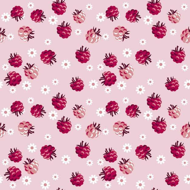 Baies rouges sur modèle sans couture rose pâle Vecteur Premium