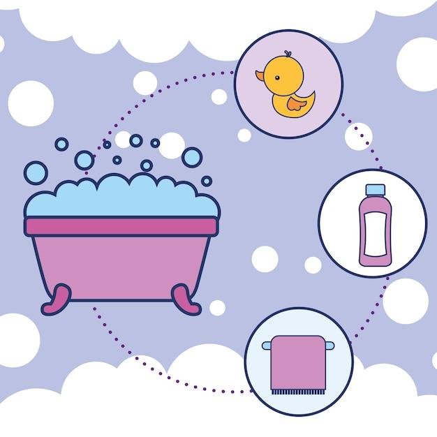 Baignoire en caoutchouc canard shampooing et serviette salle de bain Vecteur Premium