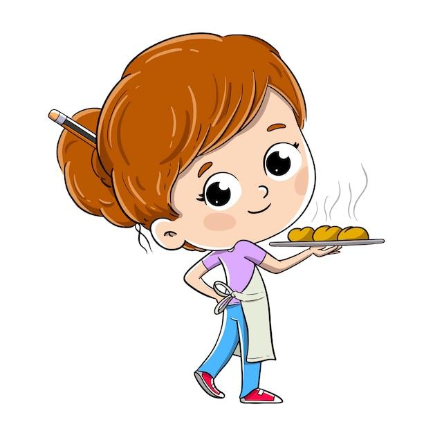 Baker Fille Avec Un Plateau Avec Des Petits Pains, Du Pain Ou Des Bonbons Vecteur Premium