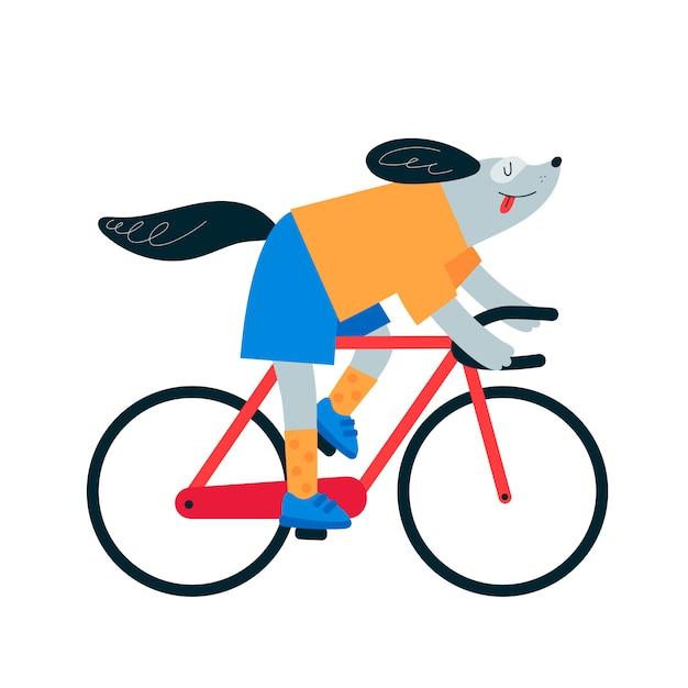 Balade en chien à vélo. vélo de cycliste. Vecteur Premium