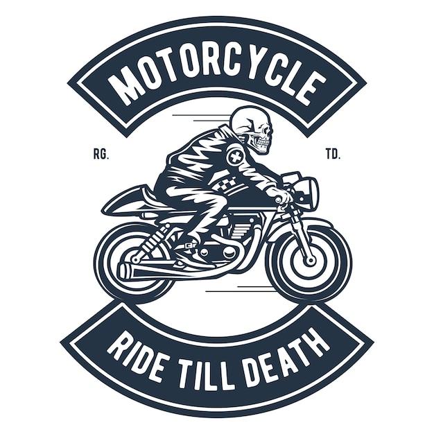 Balade en moto jusqu'à la mort Vecteur Premium