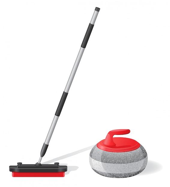 Balai et pierre pour le curling illustration vectorielle de sport Vecteur Premium