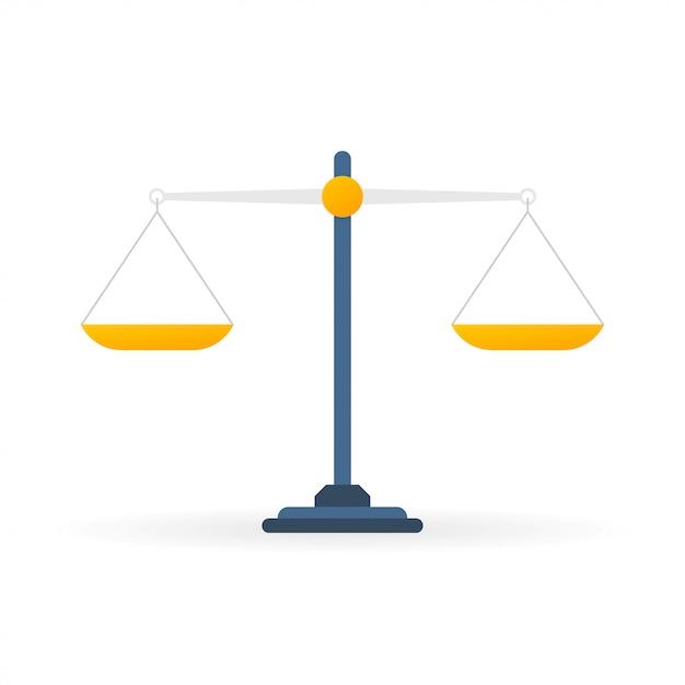 Balance Balance Plate Isolé Sur Fond Blanc Vecteur Premium