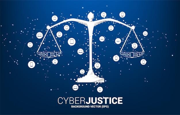 Balance de la justice avec une connexion point et ligne et l'icône de l'appareil mobile. Vecteur Premium