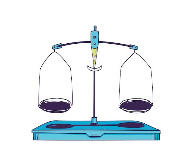 Balance De Pesée Ou Balance De Masse Avec Deux Plaques En équilibre Isolated On White Vecteur Premium