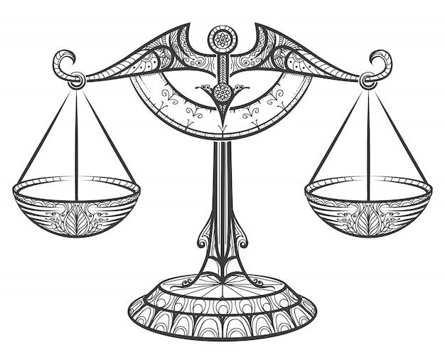 Balance zodiacale dessinée dans le style zentangle Vecteur Premium