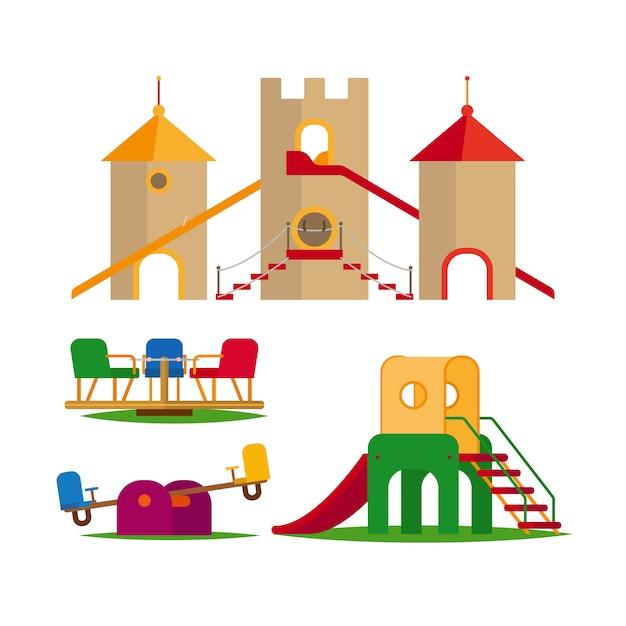 Balançoire pour enfants, toboggans et château Vecteur Premium