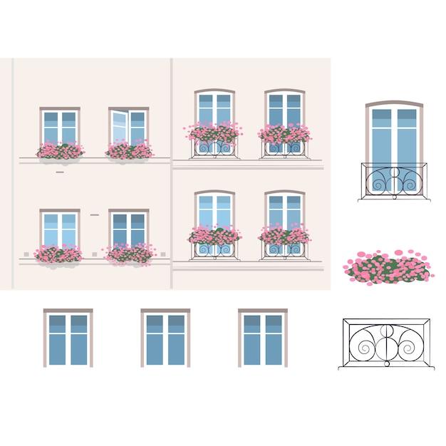 Balcons Français Avec Des Fleurs Vecteur Premium