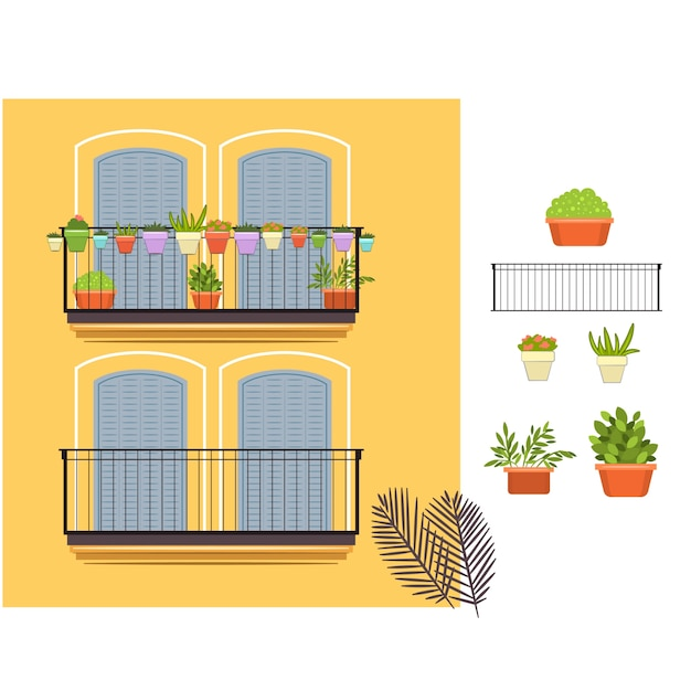 Balcons Et Plantes Jaunes Vecteur Premium