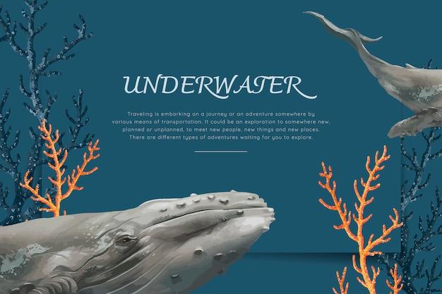 Baleine dessinée à la main Vecteur gratuit