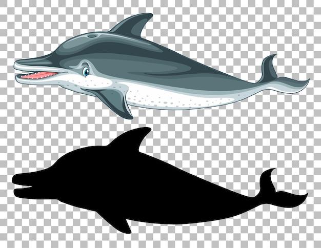 Baleine Mignonne Et Sa Silhouette Sur Transparent Vecteur gratuit