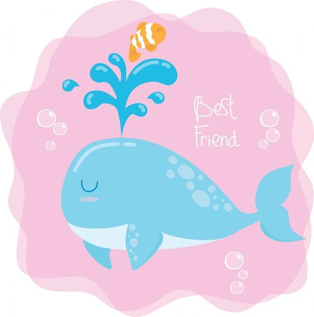 Baleine et poisson clown Vecteur Premium
