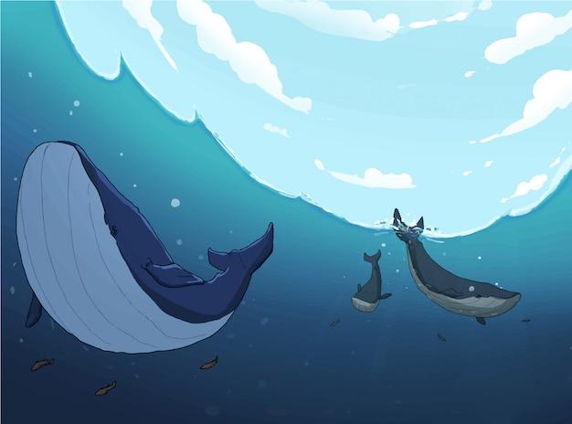 Baleines à la mer Vecteur Premium