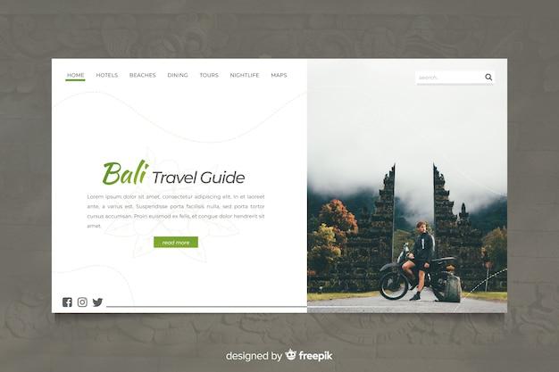 Bali page de destination du guide de voyage avec photo Vecteur gratuit
