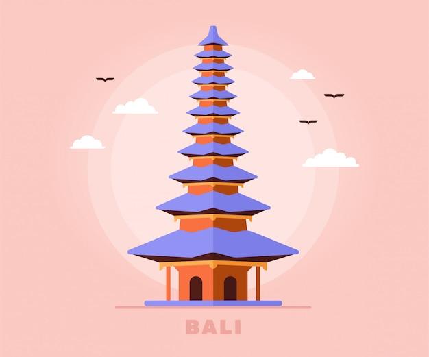 Bali Tourisme Temple Vacances Voyage D'indonésie Illustration Vecteur Premium