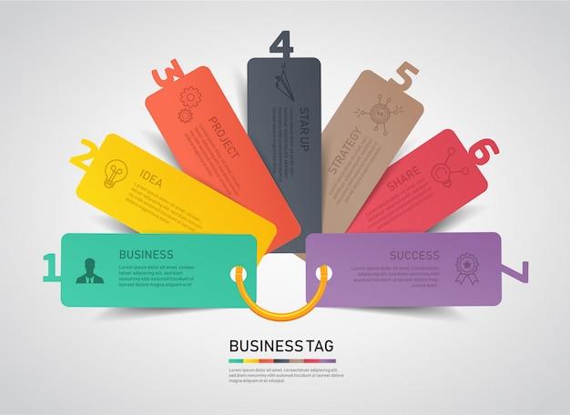 Balise moderne options infographiques de business. Vecteur Premium
