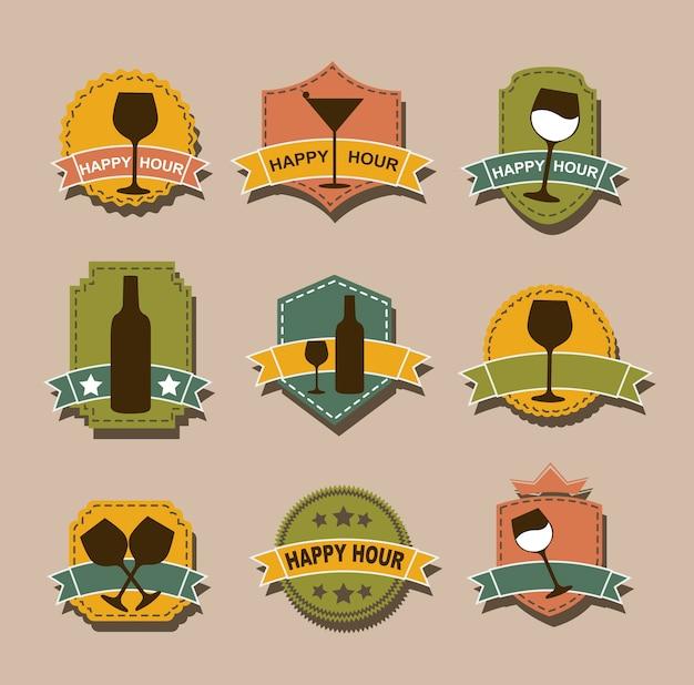 Balises happy hour au cours de l'illustration vectorielle fond marron Vecteur Premium