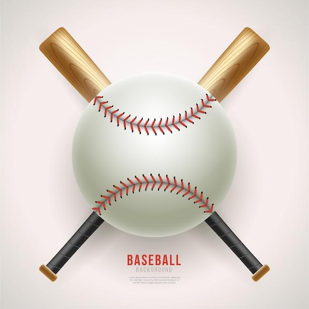 Balle de baseball réaliste et fond de batte Vecteur Premium