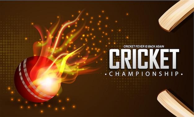 Balle De Feu Réaliste Et Batte De Cricket Vecteur Premium