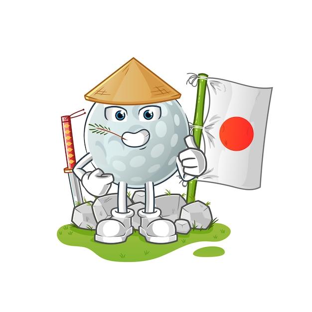 Balle De Golf Japonaise. Personnage De Dessin Animé Vecteur Premium