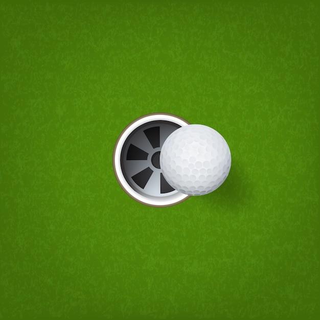 Balle de golf et trou de golf. Vecteur Premium