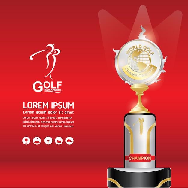 Balle de golf vector concept monde du tournoi de golf Vecteur Premium