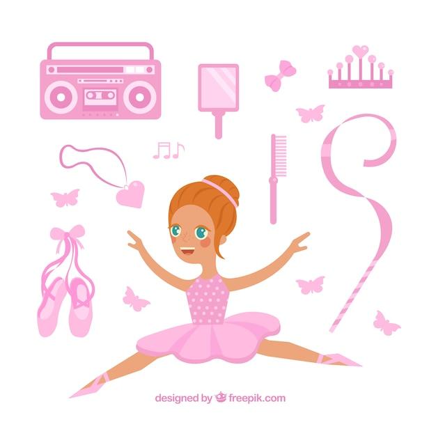 Ballerina avec des éléments roses Vecteur gratuit