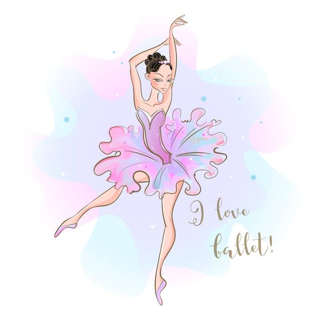 Ballerine dans un tutu rose Vecteur Premium