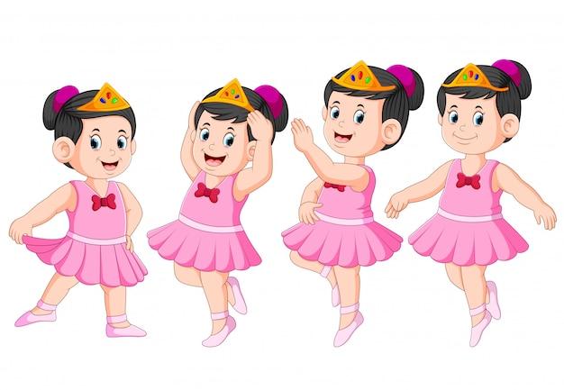 La ballerine danse avec la belle robe Vecteur Premium