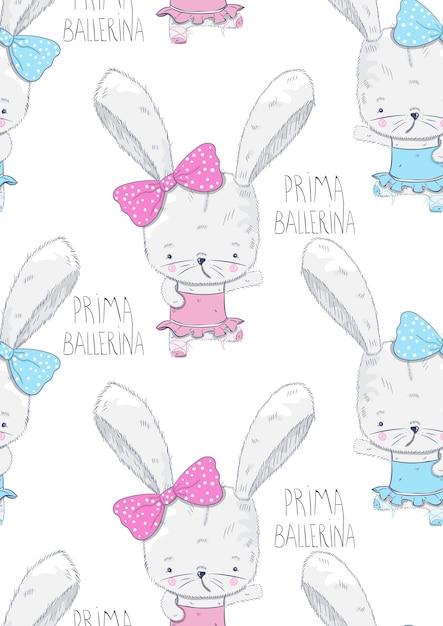 Ballerine de lapin mignon modèle amis cartoon dessiné à la main Vecteur Premium