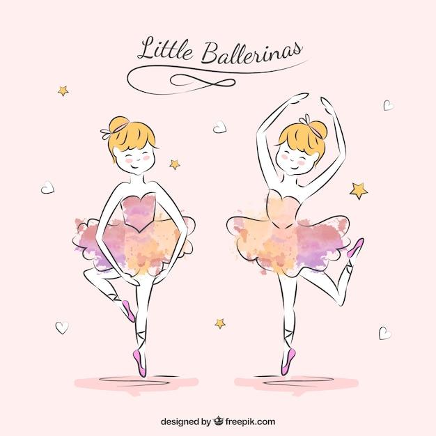 Ballerine sketchy en deux poses Vecteur gratuit