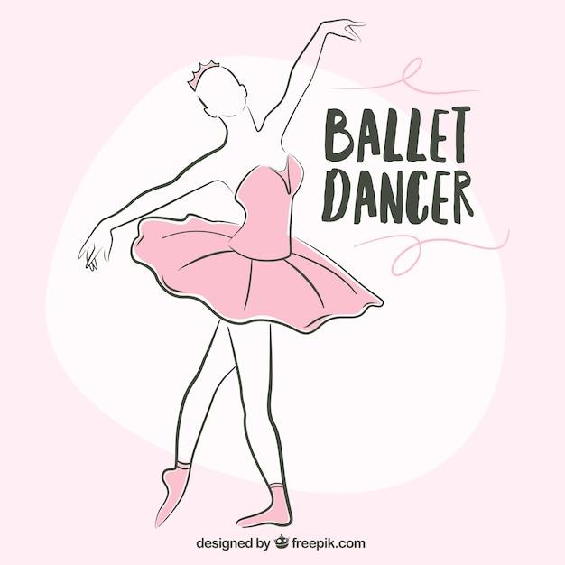 Ballerine sketchy avec un tutu rose Vecteur gratuit