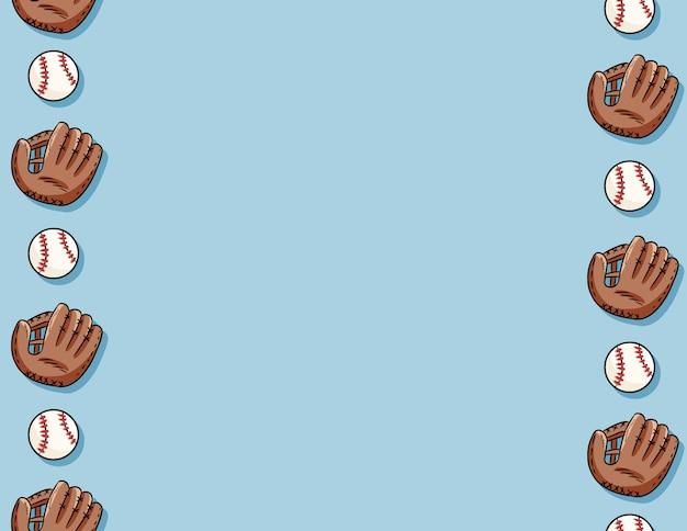 Balles de baseball et modèle sans couture de gants. modèle de lettre. baseballs mignons doodle dessinés à la main sur la tuile de texture de fond bleu Vecteur Premium