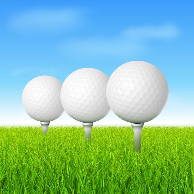 Balles de golf sur l'herbe verte Vecteur gratuit