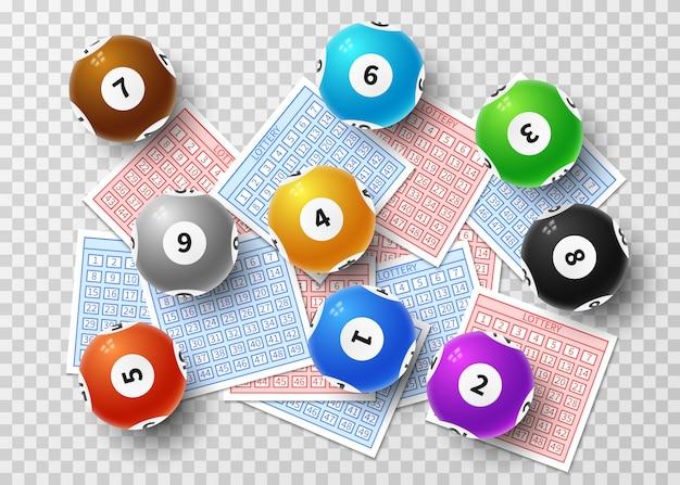 Balles de loterie et billets chanceux de bingo isolés sur transparent. concept de vecteur de jeu sportif Vecteur Premium