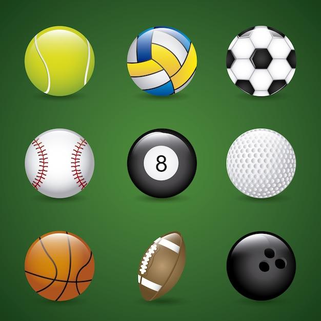 Balles de sport au cours de l'illustration vectorielle fond vert Vecteur Premium