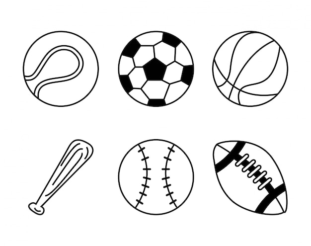 Balles sport design Vecteur Premium