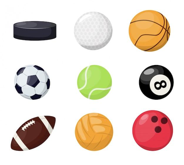 Balles de sport sur fond blanc. Vecteur Premium
