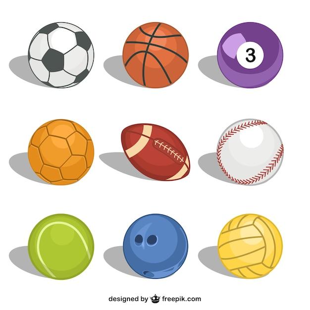 Balles de sport vecteur libre Vecteur gratuit