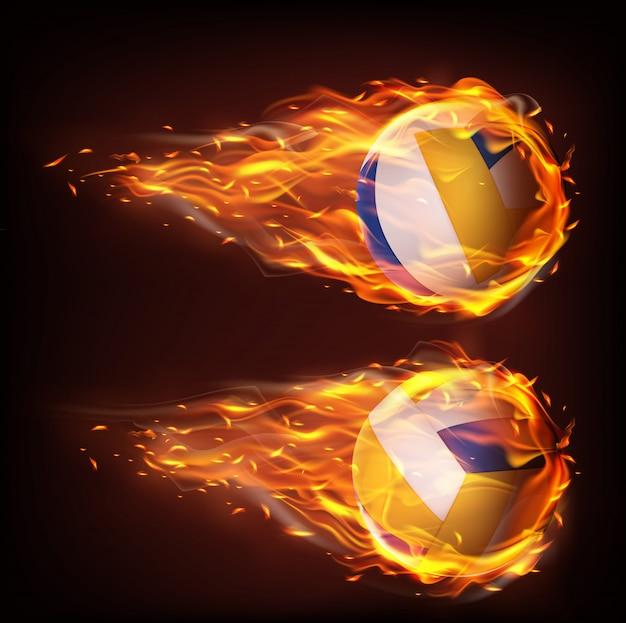 Balles De Volleyball Volant En Feu, Tombant En Flammes Vecteur gratuit