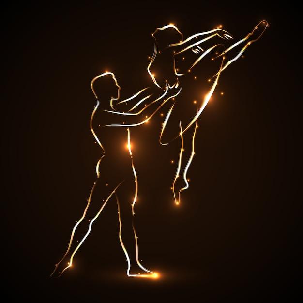 Ballet. Couple Dansant Le Ballet. Ballerine Et Son Partenaire. Déclaration De Paire. Danseur D'homme Soutient La Ballerine De Taille Tout En Sautant. Silhouette Abstraite De Deux Danseurs Avec Contour De Lumière Dorée. Vecteur Vecteur Premium
