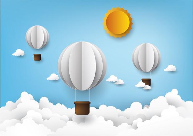 Ballon à air chaud, style d'artisanat numérique graphique. Vecteur Premium
